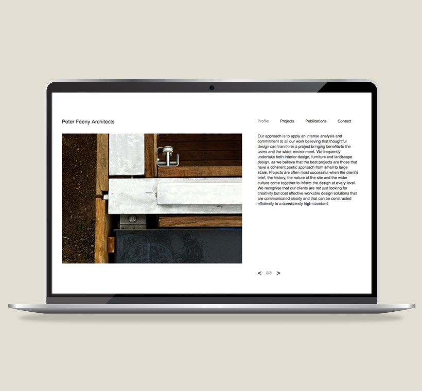 Peter Feeny Architects: web design by Asier Reguera